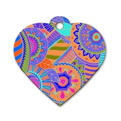 Pop Art Paisley Flowers Ornaments Multicolored 3 Dog Tag Heart (two Sides) by EDDArt