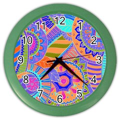 Pop Art Paisley Flowers Ornaments Multicolored 3 Color Wall Clock