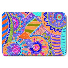 Pop Art Paisley Flowers Ornaments Multicolored 3 Large Doormat  by EDDArt