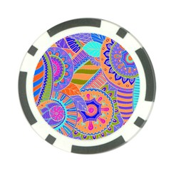 Pop Art Paisley Flowers Ornaments Multicolored 3 Poker Chip Card Guard by EDDArt