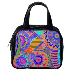 Pop Art Paisley Flowers Ornaments Multicolored 3 Classic Handbags (one Side)