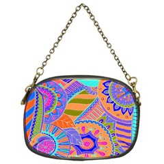 Pop Art Paisley Flowers Ornaments Multicolored 3 Chain Purses (one Side)  by EDDArt