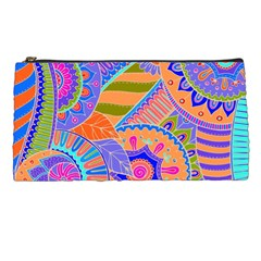 Pop Art Paisley Flowers Ornaments Multicolored 3 Pencil Cases by EDDArt