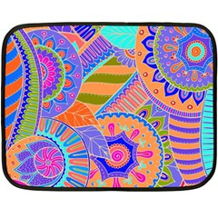 Pop Art Paisley Flowers Ornaments Multicolored 3 Double Sided Fleece Blanket (mini)  by EDDArt