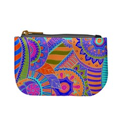 Pop Art Paisley Flowers Ornaments Multicolored 3 Mini Coin Purses by EDDArt