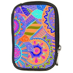 Pop Art Paisley Flowers Ornaments Multicolored 3 Compact Camera Cases by EDDArt