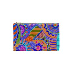 Pop Art Paisley Flowers Ornaments Multicolored 3 Cosmetic Bag (small) by EDDArt