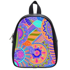 Pop Art Paisley Flowers Ornaments Multicolored 3 School Bag (small) by EDDArt