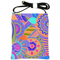 Pop Art Paisley Flowers Ornaments Multicolored 3 Shoulder Sling Bags by EDDArt