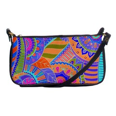 Pop Art Paisley Flowers Ornaments Multicolored 3 Shoulder Clutch Bags by EDDArt