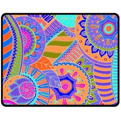 Pop Art Paisley Flowers Ornaments Multicolored 3 Fleece Blanket (medium)  by EDDArt