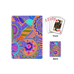 Pop Art Paisley Flowers Ornaments Multicolored 3 Playing Cards (mini)  by EDDArt