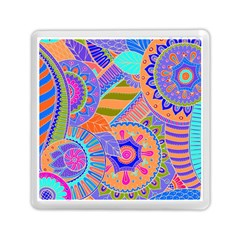 Pop Art Paisley Flowers Ornaments Multicolored 3 Memory Card Reader (square) by EDDArt