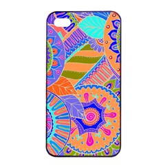 Pop Art Paisley Flowers Ornaments Multicolored 3 Apple Iphone 4/4s Seamless Case (black) by EDDArt
