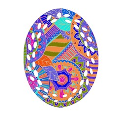 Pop Art Paisley Flowers Ornaments Multicolored 3 Ornament (oval Filigree) by EDDArt