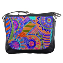 Pop Art Paisley Flowers Ornaments Multicolored 3 Messenger Bags by EDDArt