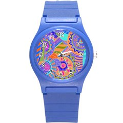 Pop Art Paisley Flowers Ornaments Multicolored 3 Round Plastic Sport Watch (s) by EDDArt