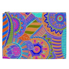 Pop Art Paisley Flowers Ornaments Multicolored 3 Cosmetic Bag (xxl) by EDDArt
