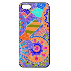 Pop Art Paisley Flowers Ornaments Multicolored 3 Apple Iphone 5 Seamless Case (black) by EDDArt