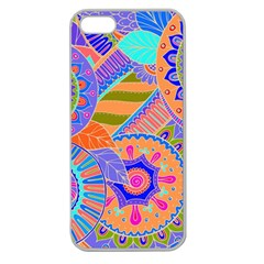 Pop Art Paisley Flowers Ornaments Multicolored 3 Apple Seamless Iphone 5 Case (clear) by EDDArt