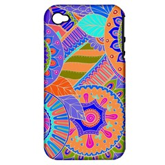 Pop Art Paisley Flowers Ornaments Multicolored 3 Apple Iphone 4/4s Hardshell Case (pc+silicone)