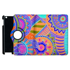Pop Art Paisley Flowers Ornaments Multicolored 3 Apple Ipad 2 Flip 360 Case