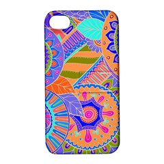 Pop Art Paisley Flowers Ornaments Multicolored 3 Apple Iphone 4/4s Hardshell Case With Stand by EDDArt