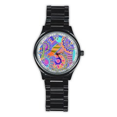 Pop Art Paisley Flowers Ornaments Multicolored 3 Stainless Steel Round Watch