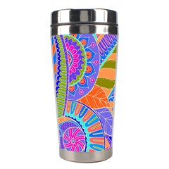 Pop Art Paisley Flowers Ornaments Multicolored 3 Stainless Steel Travel Tumblers by EDDArt