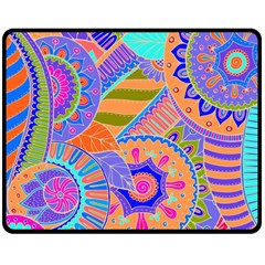 Pop Art Paisley Flowers Ornaments Multicolored 3 Double Sided Fleece Blanket (medium)  by EDDArt