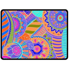 Pop Art Paisley Flowers Ornaments Multicolored 3 Double Sided Fleece Blanket (large)  by EDDArt