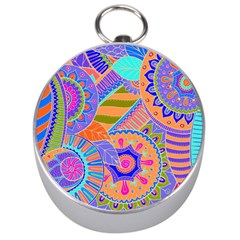 Pop Art Paisley Flowers Ornaments Multicolored 3 Silver Compasses by EDDArt