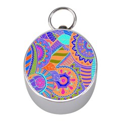 Pop Art Paisley Flowers Ornaments Multicolored 3 Mini Silver Compasses