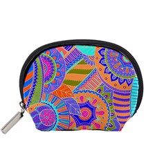 Pop Art Paisley Flowers Ornaments Multicolored 3 Accessory Pouches (small)  by EDDArt