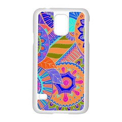Pop Art Paisley Flowers Ornaments Multicolored 3 Samsung Galaxy S5 Case (white) by EDDArt