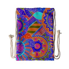 Pop Art Paisley Flowers Ornaments Multicolored 3 Drawstring Bag (small) by EDDArt