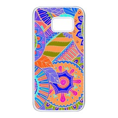 Pop Art Paisley Flowers Ornaments Multicolored 3 Samsung Galaxy S7 White Seamless Case