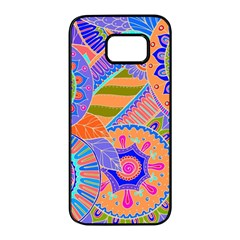 Pop Art Paisley Flowers Ornaments Multicolored 3 Samsung Galaxy S7 Edge Black Seamless Case