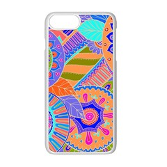 Pop Art Paisley Flowers Ornaments Multicolored 3 Apple Iphone 8 Plus Seamless Case (white) by EDDArt