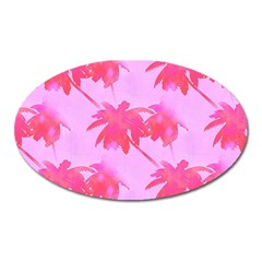 Palm Trees Pink Paradise Oval Magnet by CrypticFragmentsColors