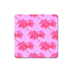 Palm Trees Pink Paradise Square Magnet by CrypticFragmentsColors