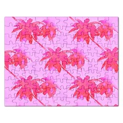 Palm Trees Pink Paradise Rectangular Jigsaw Puzzl by CrypticFragmentsColors
