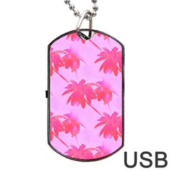 Palm Trees Pink Paradise Dog Tag Usb Flash (two Sides) by CrypticFragmentsColors