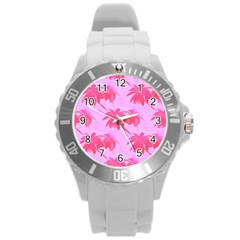 Palm Trees Pink Paradise Round Plastic Sport Watch (l) by CrypticFragmentsColors