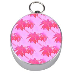 Palm Trees Pink Paradise Silver Compasses by CrypticFragmentsColors