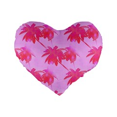 Palm Trees Pink Paradise Standard 16  Premium Flano Heart Shape Cushions by CrypticFragmentsColors