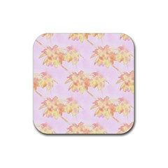 Palm Trees Tropical Summer Heat Rubber Coaster (square)  by CrypticFragmentsColors