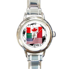 United Football Championship Hosting 2026 Soccer Ball Logo Canada Mexico Usa Round Italian Charm Watch by yoursparklingshop