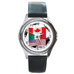 United Football Championship Hosting 2026 Soccer Ball Logo Canada Mexico Usa Round Metal Watch by yoursparklingshop
