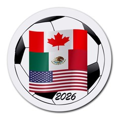United Football Championship Hosting 2026 Soccer Ball Logo Canada Mexico Usa Round Mousepads by yoursparklingshop